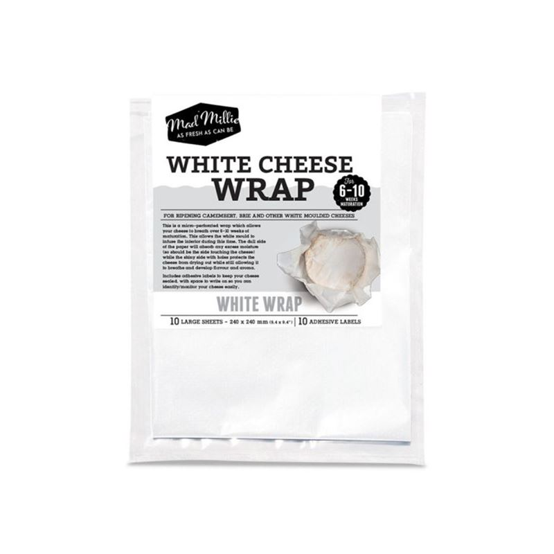 Mad Millie – White Cheese Wrap 24x24cm Square 10 Sheet Pack