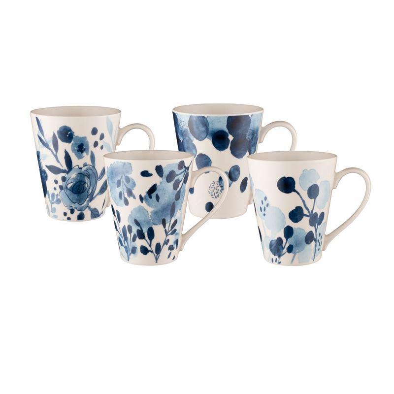 Bundanoon – New Bone China Conical Mug Sapphire Blooms 414ml Set of 4