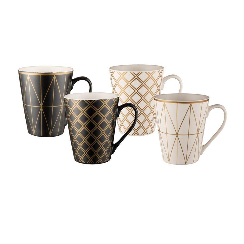Bundanoon – New Bone China Conical Mug Geotalics 414ml Set of 4