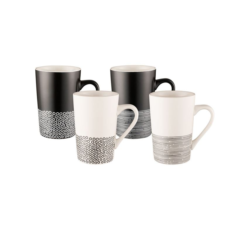 Bundanoon – New Bone China Tube Mug Monochrome Hem 350ml Set of 4