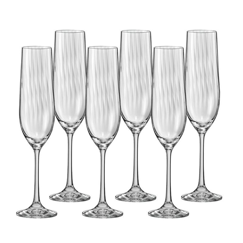 Bohemia – Waterfall Champagne Flute 190ml Set of 6 (Made in the Czech Republic)