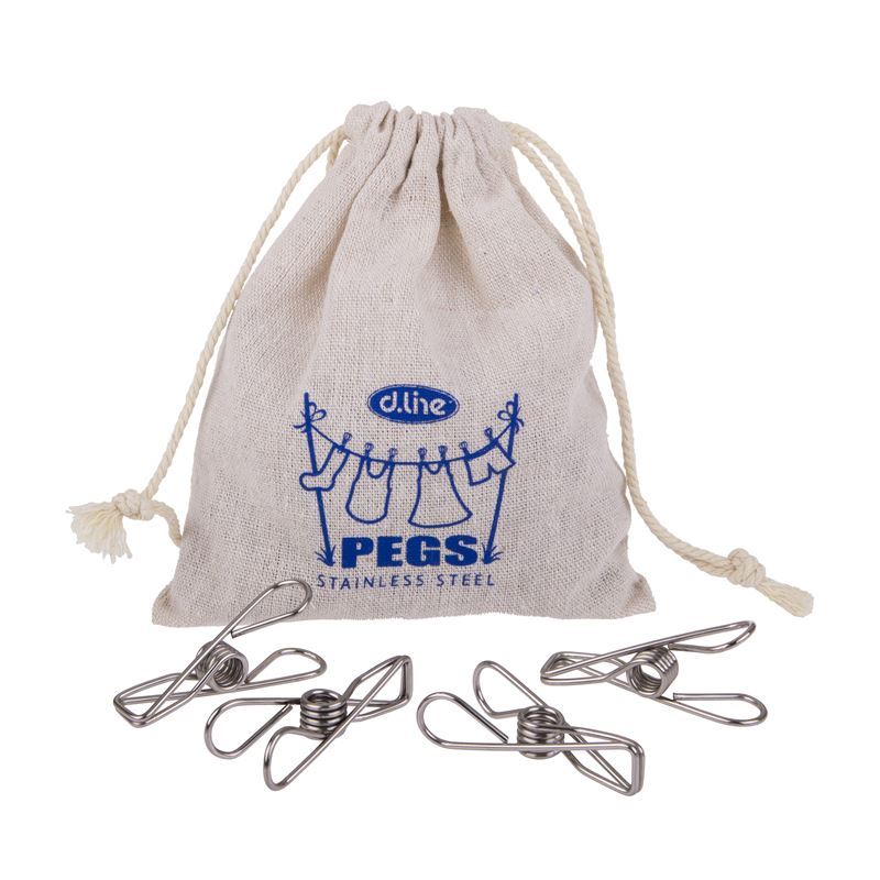 Appetito – Stainless Steel Large Wire Pegs in Hemp Bag Pack of 30