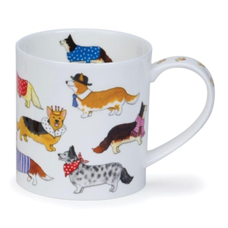 Dunoon – Orkney Bone China Mug 350ml Dashing Dogs Corgi (Made in England)