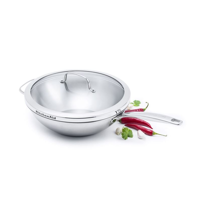 KitchenAid – Professional Stainless Steel Induction Wok with Lid 30cm 4.7Ltr
