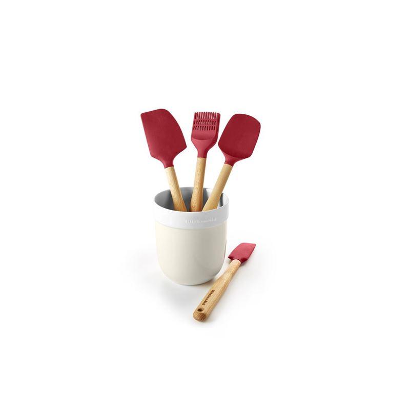 KitchenAid – Almond Cream Premium Porcelain 5pc Utensil Jar and Silicone Utensil Set Gift Boxed