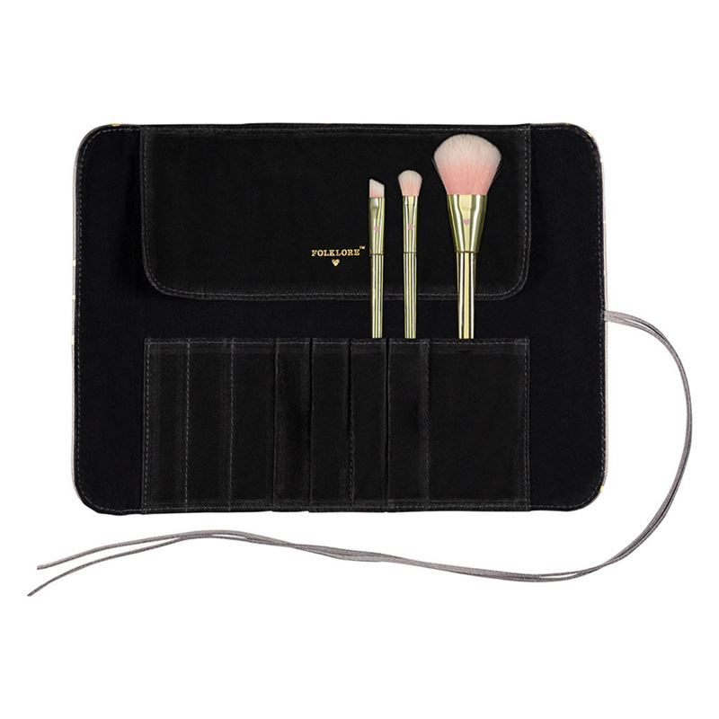 Folklore – Makeup Brush Roll with 3 Brushes