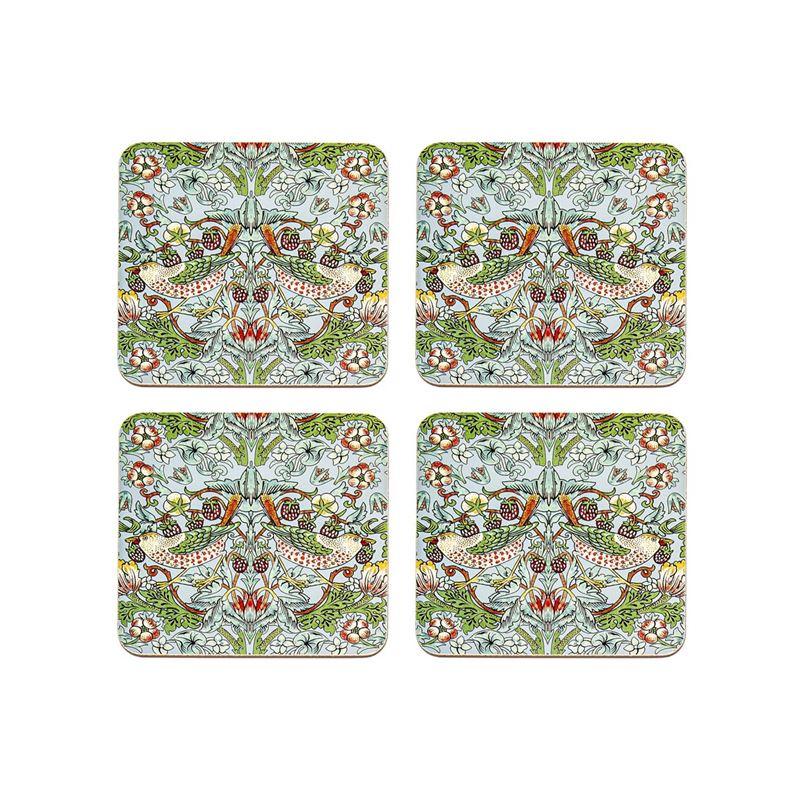 Nostalgic – Strawberry Thief Aqua Coasters 10.5×10.5cm Set of 4