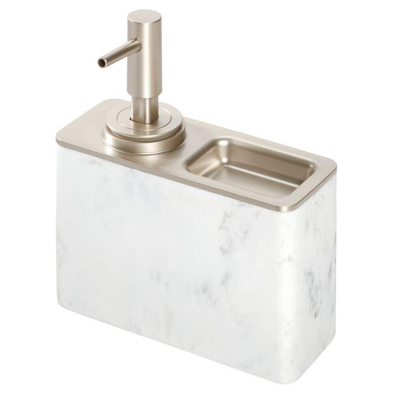 InterDesign – Dakota Pump Dispenser with Ring Holder White Marble Look
