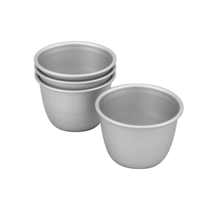 Bakemaster – Silver Anodised Pudding 7.5x6cm Mould Set of 4