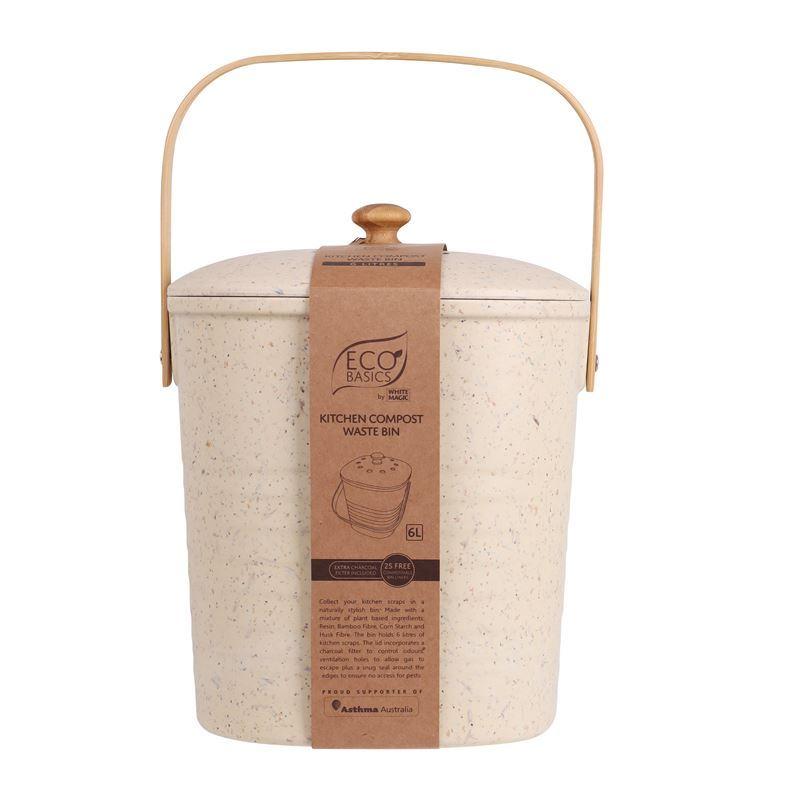 White Magic – Eco Basics Compost Kitchen Waste Bin 4Ltr Pebble