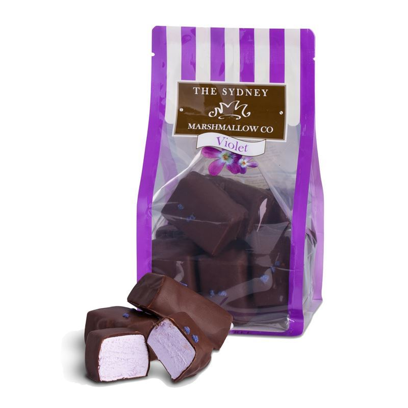 The Sydney Marshmallow Co. – Chocolate Coated Violet Marshmallow 200g Bag