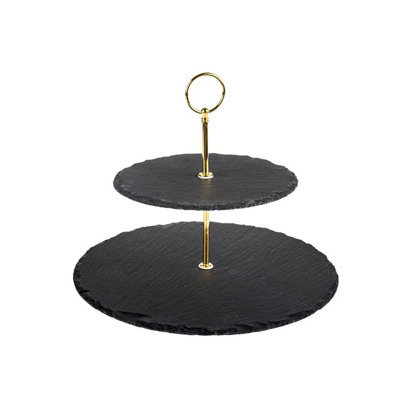 Zuhause – Aldo Slate 2 Tier Serving Plate with Matte Gold Handle