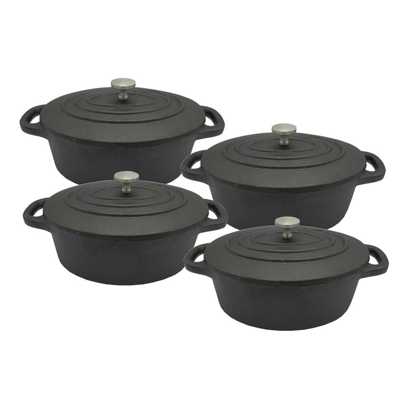 Benzer – Sizzle Cast Iron Mini Cocotte Oval 13cm 410ml Set of 4 Gift Boxed