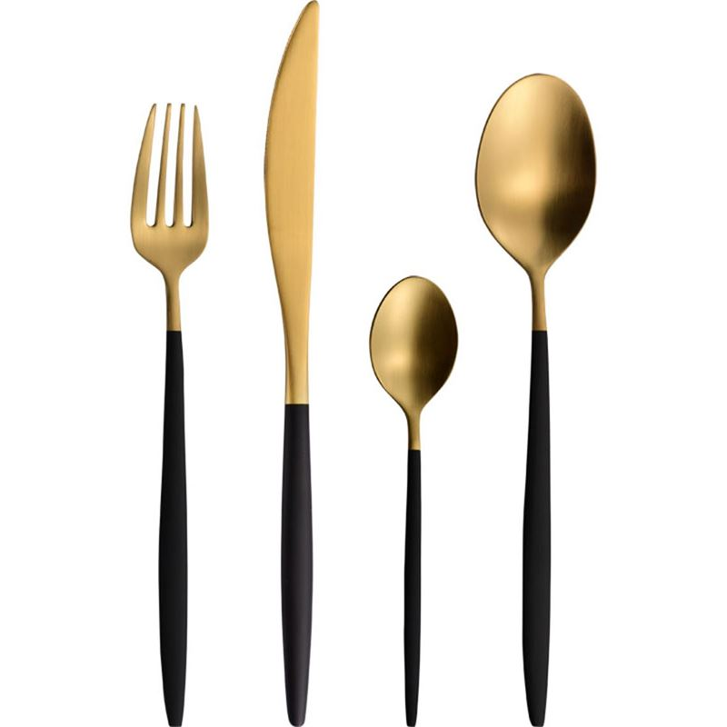 Zuhause – Kartel Premium Brushed Gold & Black Cutlery Set 24pc