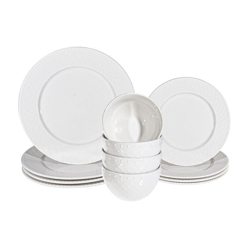 Benzer – Chiltern Durable Porcelain 12pc Dinner Set