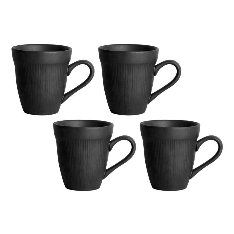Zuhause – Studio Largo Supreme Stoneware 4 Pce Mug Set 415ml Matt Black