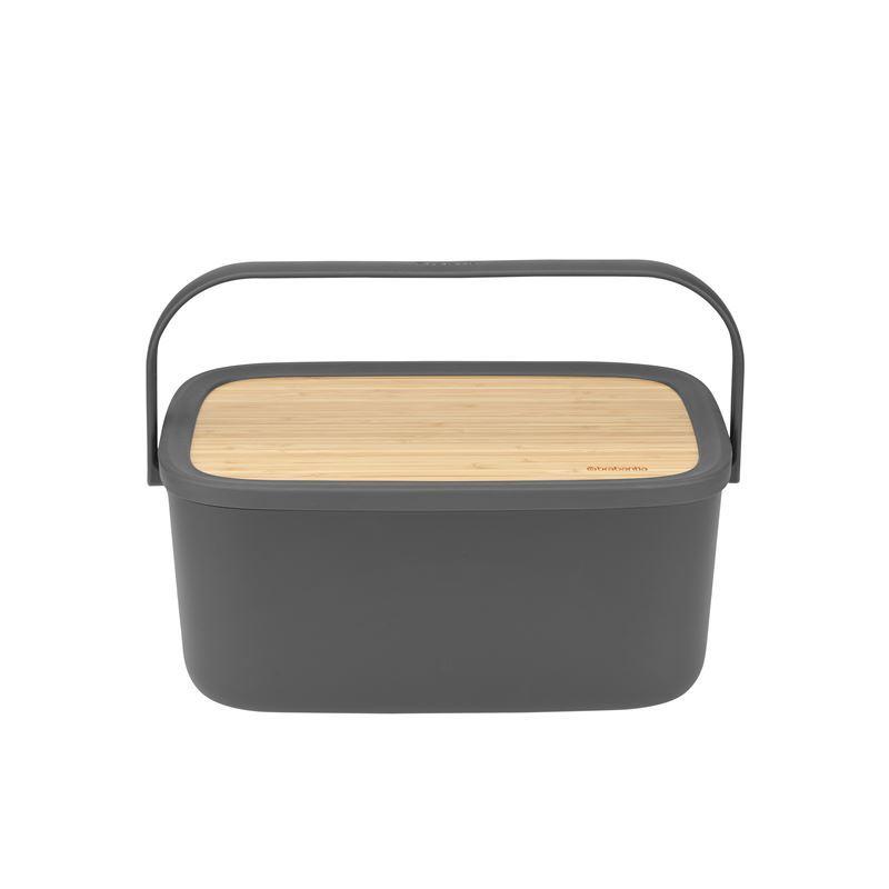 Brabantia – NIC Bread Bin with Bamboo Lid/Board Dark Grey