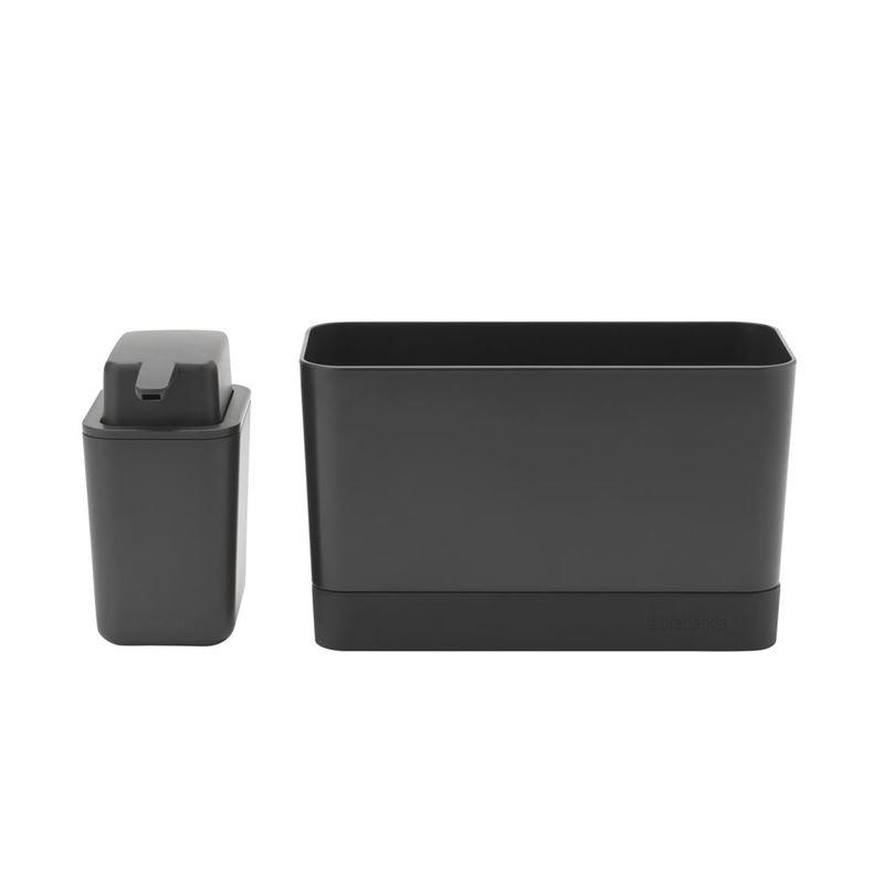 Brabantia – Sink Organiser and Soap Dispenser Set Dark Grey