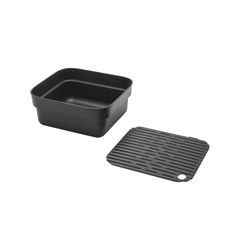 Brabantia – Washing Up Bowl with Drying Tray Dark Grey
