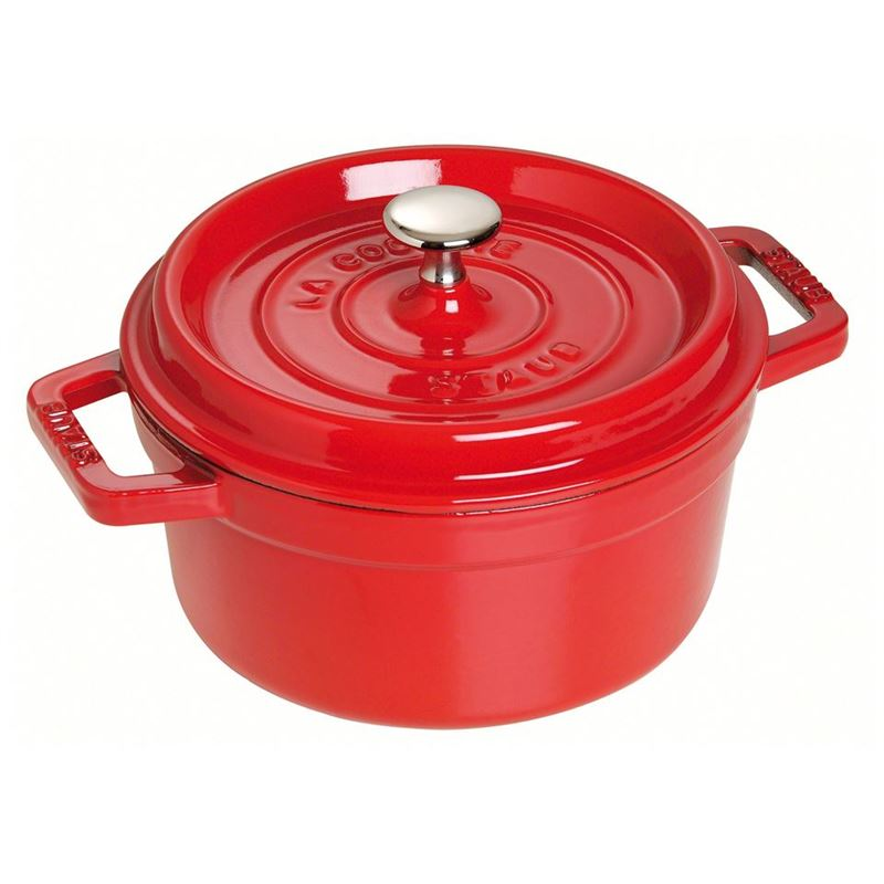 Staub – Cast Iron Round Cocotte 28cm 6.7Ltr Cherry Red (Made in France)