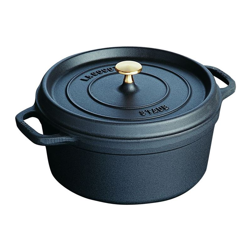 Staub – Cast Iron Round Cocotte 24cm 3.8Ltr Black (Made in France)