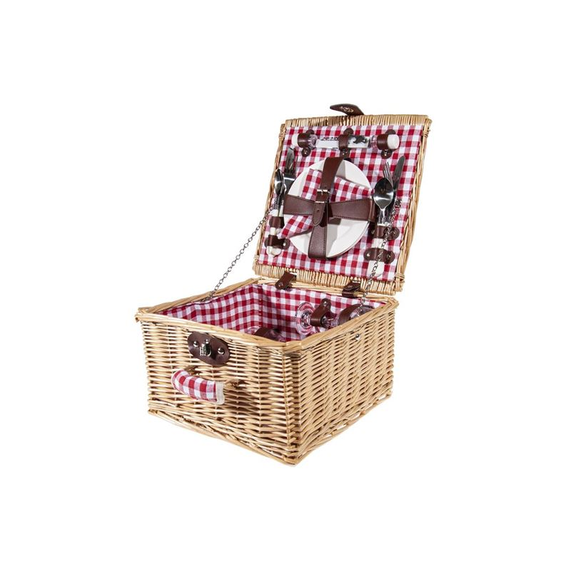 Zuhause – Picnic Check Red Picnic Basket for 2 32x32x19cm