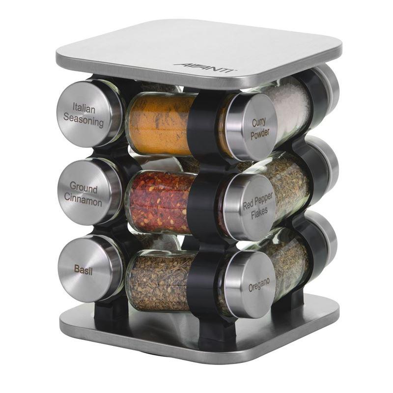 Avanti – Stainless Steel 12 Glass Jar Spice Rack