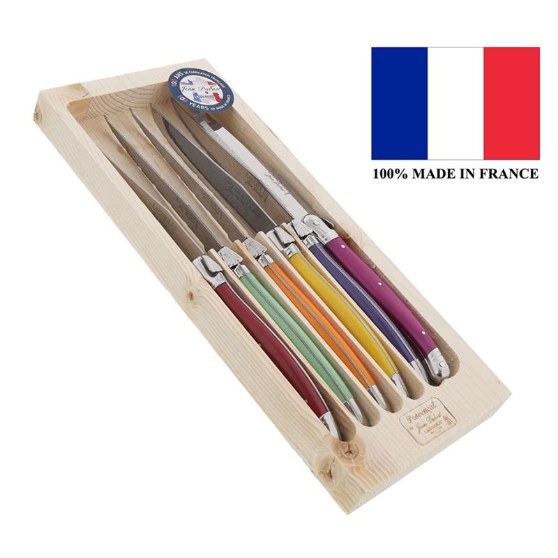 Laguiole by Jean Dubost – Authentic French Made Provencal Multi-Colour 6pc Steak Knife Set (Made in France)