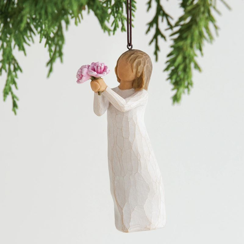 Willow Tree – Thank You Ornament with Pink Flower