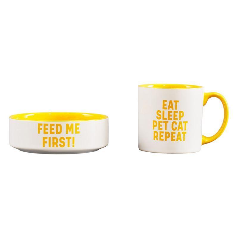 Wild & Woofy – Cat Mug and Bowl Set