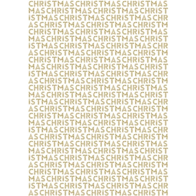 The Art File – Christmas Wrapping Roll – Merry Christmas Text Gold 3Mtr