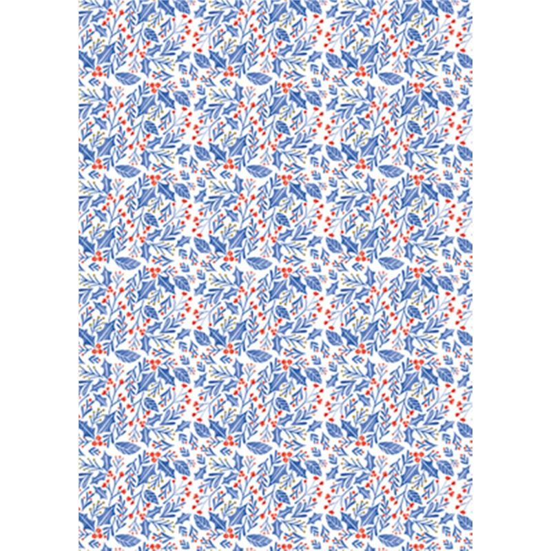 The Art File – Christmas Wrapping Roll – Woodland Holly Blue 3Mtr