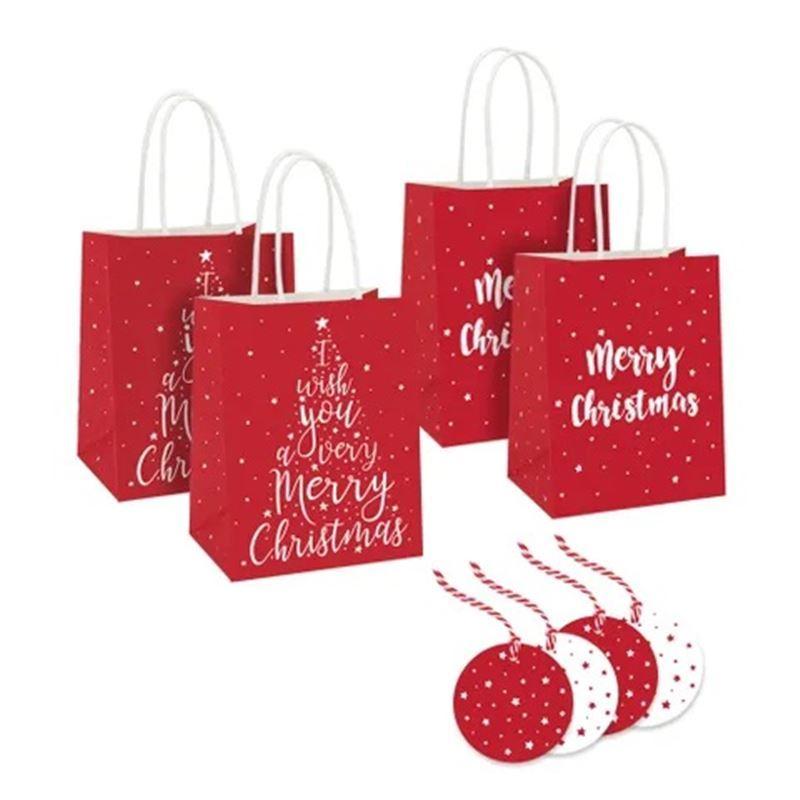 Vandoros – Merry Christmas Red Gift Bag with Tag SET OF 4