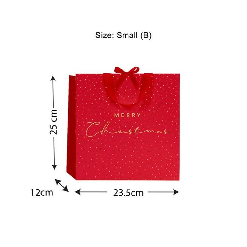 Vandoros – Merry Christmas Luxe Bag Red with Ribbon Handles size B
