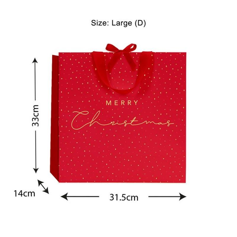 Vandoros – Merry Christmas Luxe Bag Red with Ribbon Handles size D