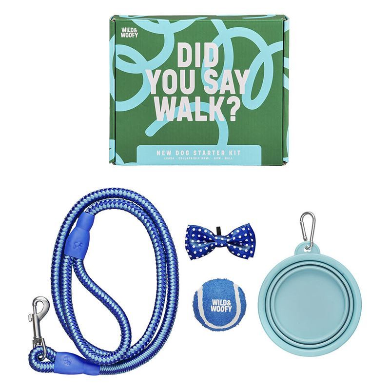 Wild & Woofy – New Dog Leash, Bowl, Ball and Bowtie Starter Kit Blue