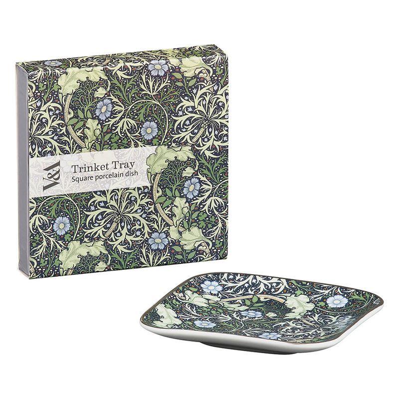 V & A – Square Porcelain 10cm Trinket Tray Seaweed Print