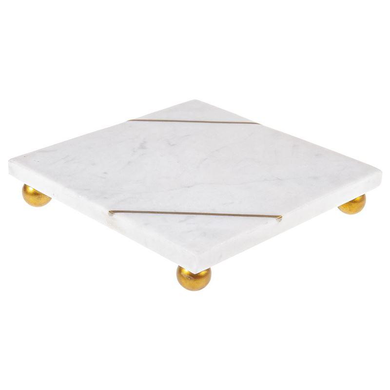 Zuhause – Franz White Marble Square Presentation Board 20x20x2cm
