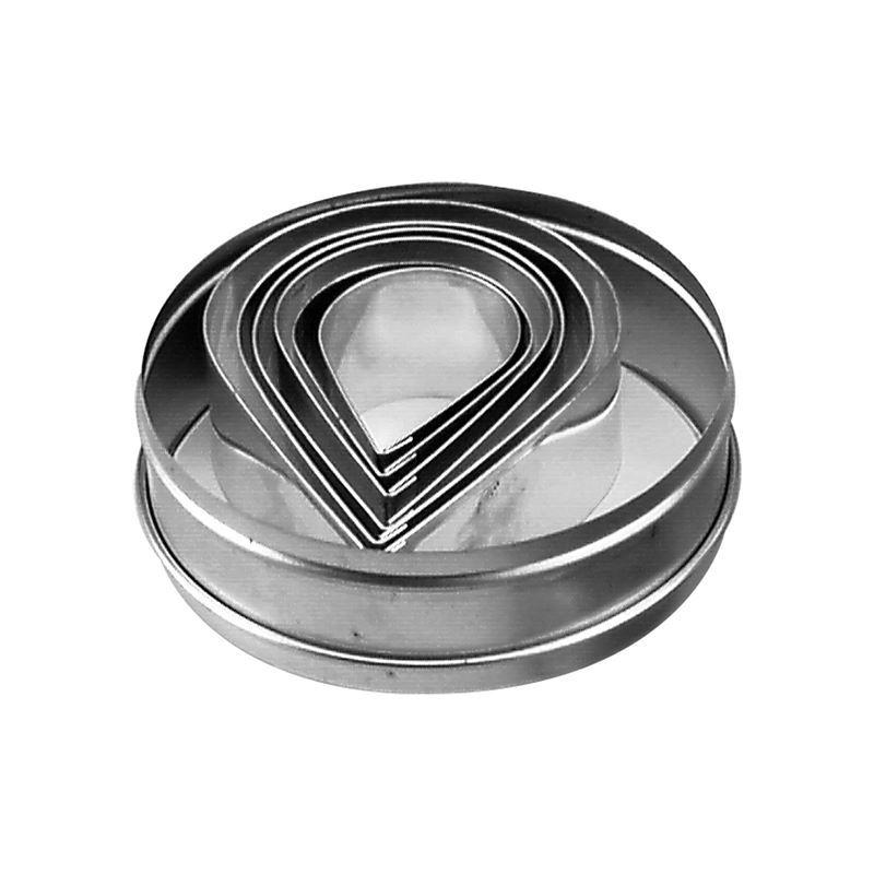 Chef Inox –  Tear Drop 6pc Cutter Set in Storage Tin 5-9.5cm