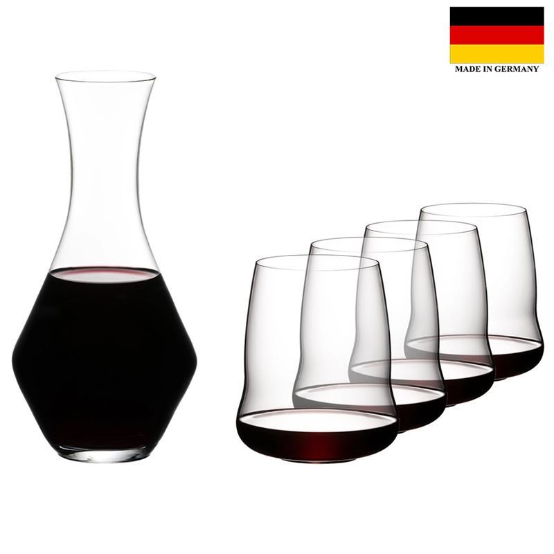 Riedel – Winewings Stemless Wings Bordeaux + Decanter 4-Pack + Gift (Made in Germany)