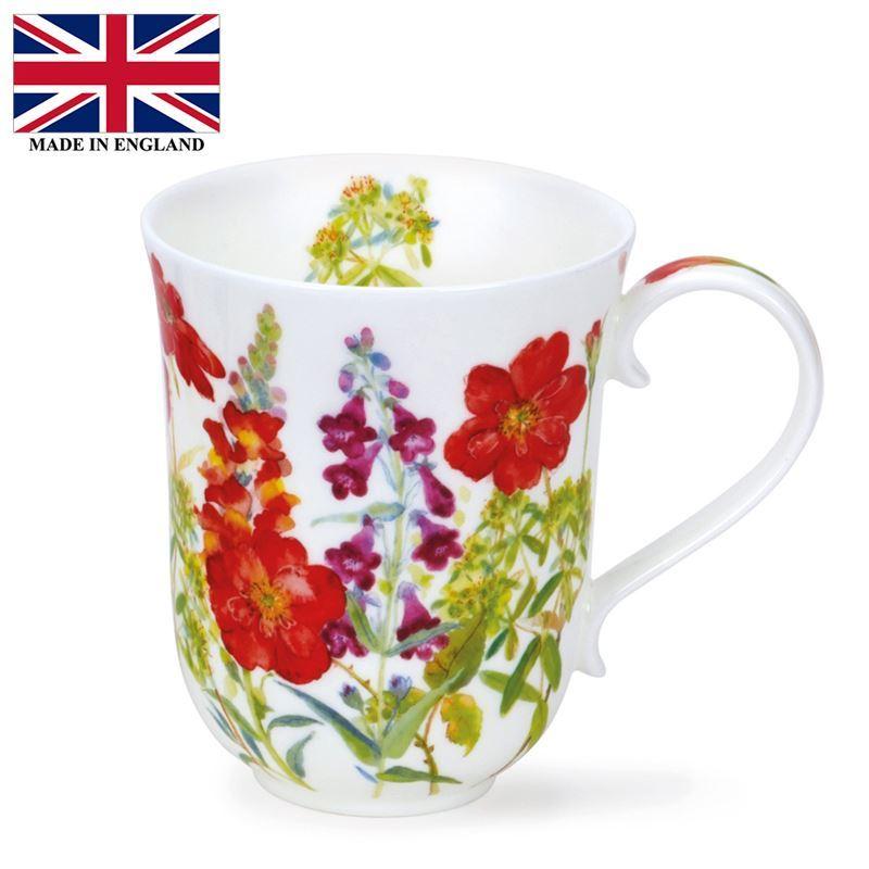 Dunoon – Braemar Bone China Mug 330ml Cottage Flowers Red (Made in England)