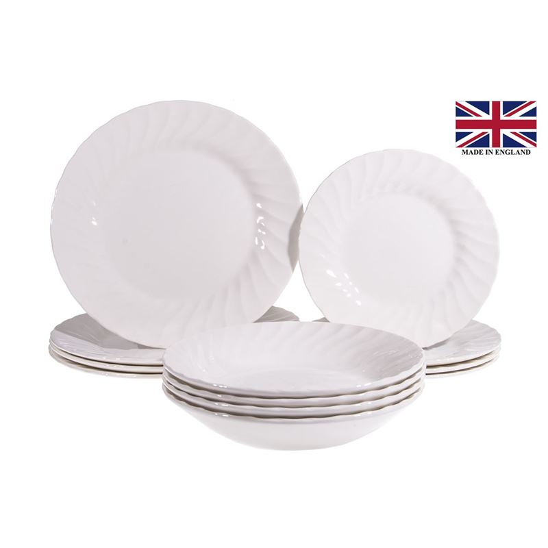Queens by Churchill Chelsea White – 12pc Dinner Set (Made in England)