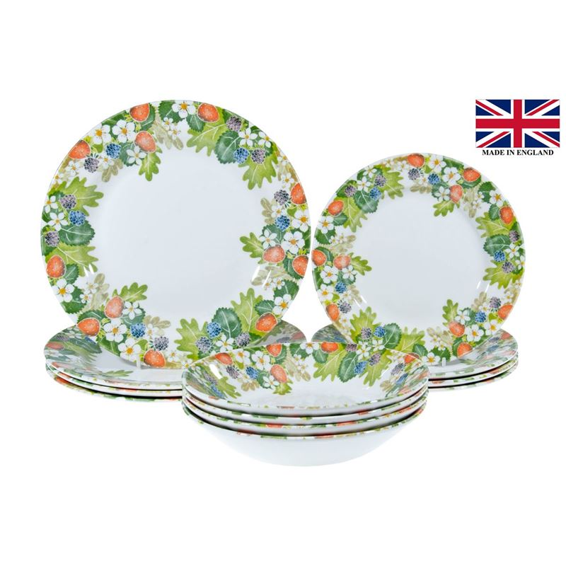 Queens by Churchill – 12pc Dinner Set Strawberry Harvest (Made in England)