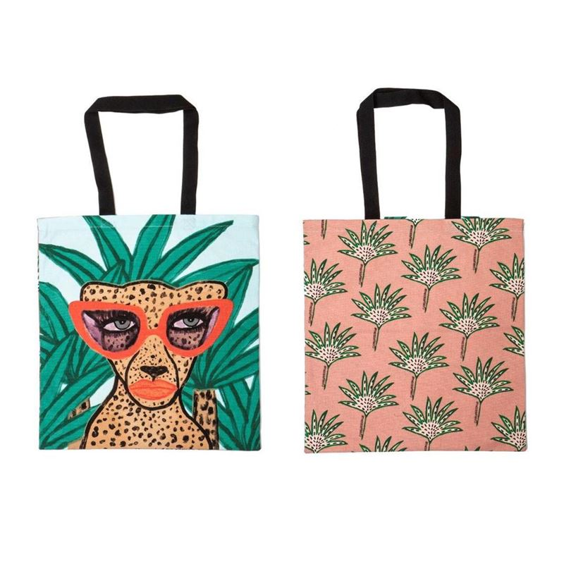 Bouffants & Broken Hearts – Jungle Rumble Once a Cheetah Double Sided Tote Bag 45x42cm