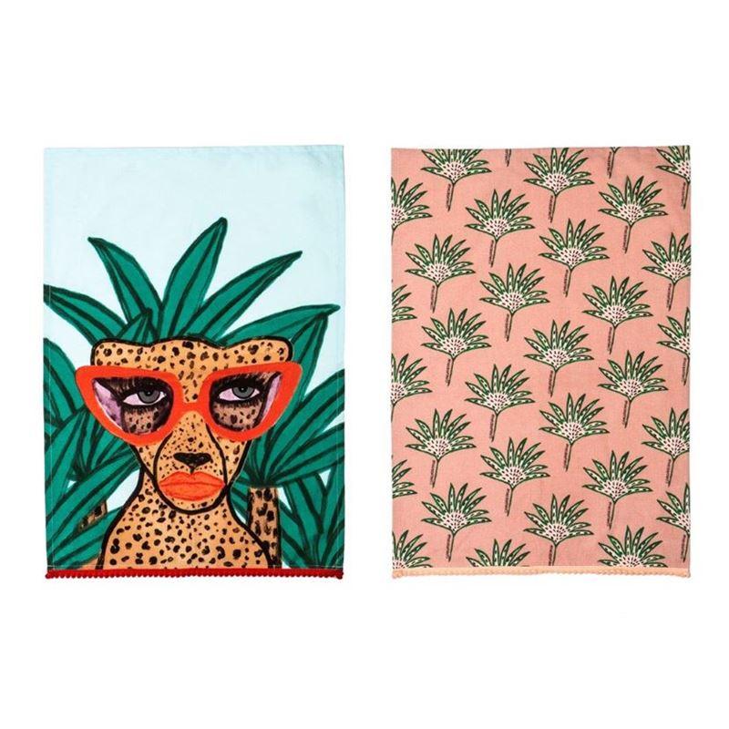 Bouffants & Broken Hearts – Once a Cheetah Tea Towel Set of 2 70x50cm