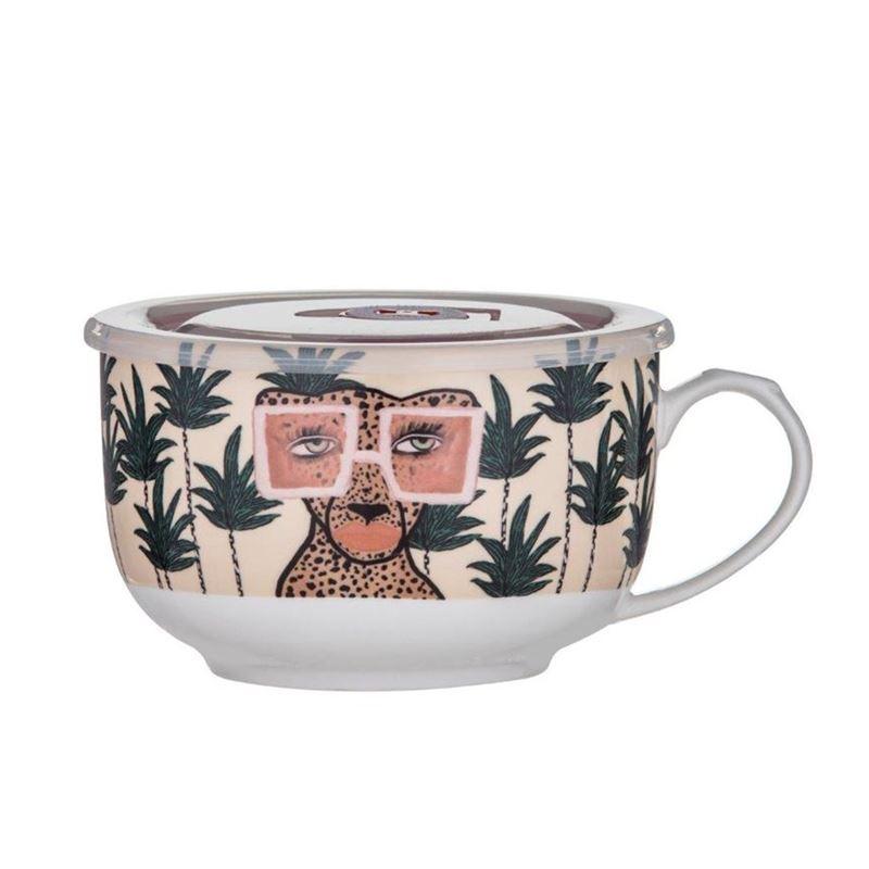Bouffants & Broken Hearts – Jungle Queen Soup Mug with Lid 14.5x12x8cm