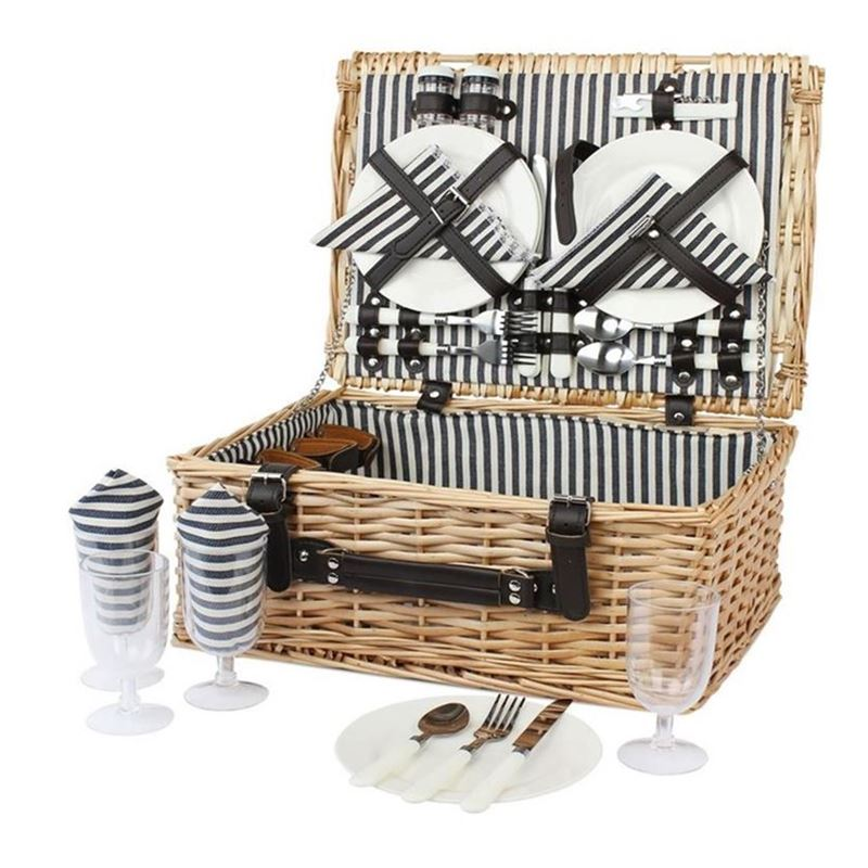 Zuhause – Polo Stripe Willow Picnic Basket for 4