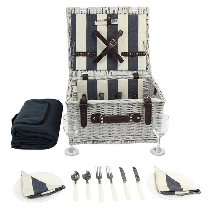 Zuhause – Hamptons White Willow Picnic Basket for 2 with Picnic Rug