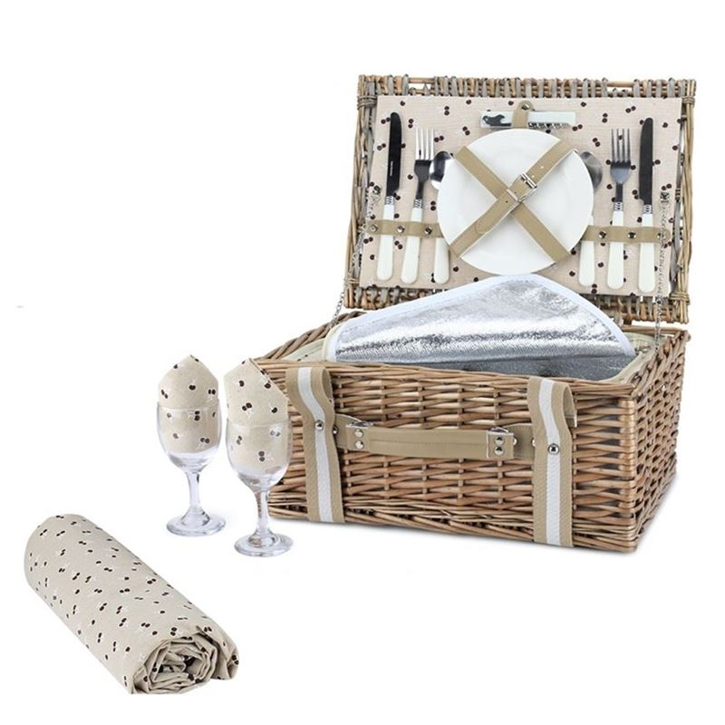 Zuhause – Como Deluxe Picnic Basket for 2 with Keep Cool Lining and Picnic Rug