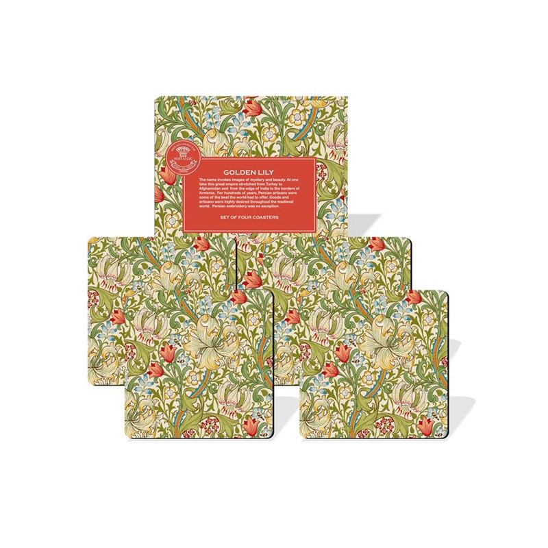 Nostalgic – Golden Lily Coasters 10.5×10.5cm Set of 4